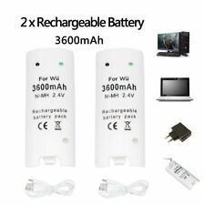 2 Pack for Nintendo Wii Remote Controller 3600mAh Rechargeable Battery & Cable
