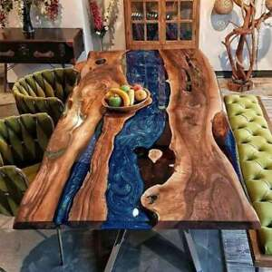 Blue Epoxy Wooden Center Dining Table Interior Cafeteria Decors Made To Order