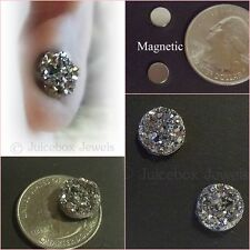 MAGNETIC Faux Hematite Druzy, Non-Pierced 12mm Stud Trendy Fake Earrings #M206