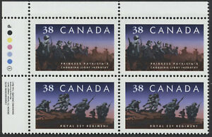 Canada #1250ii Canadian Regiments, UL Inscription Block of 4 VF NH, Offset
