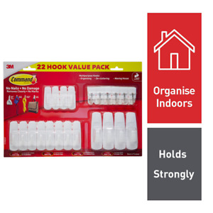 3M Command White Mixed Wall Mounting Adhesive Hooks Picture Hanging 22 Pack