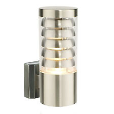Endon Tango outdoor wall light IP44 9.2W Brushed stainless steel & clear pc