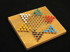 """Chinese Checkers 6.26""""x 5.43"""" wooden travel board game"""