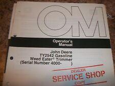 John Deere Operator'S Manual Ty2542 Gasoline Weed Eater Trimmer