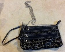 Black & Gold Women's Purse Wristlet Zippered with Shoulder Chain Strap New!