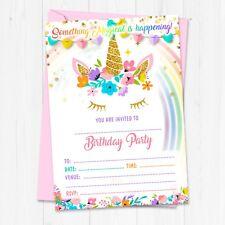 Unicorn Birthday Party Invitations - Girl Unicorn Invites