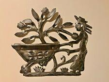 Haitian Steel Drum Art - Artist Signed - Gardener Wheelbarrow Tree of Life