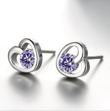 New Women Girl heart-shaped 925 sterling silver earrings ear plugs holiday gift