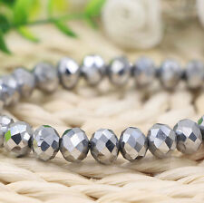 20-100 Rondelle Faceted Crystal Glass Loose Spacer Beads Finding 4/6/8/10mm DIY