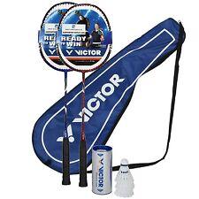 Premium Badminton Set 2 Schläger Victor 3100 Bälle Tasche Federball