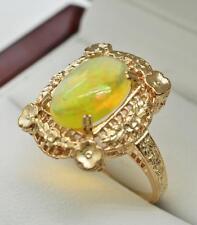 Art Deco 1.85ctw Genuine Australian Opal 14k Rose Gold/Sterling Filigree Ring