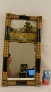 Antique Small Hitchcock Style Painted  Landscape Federal Wall Mirror