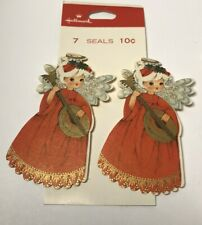 4 Vintage Die Cut Hallmark Christmas Seals Stickers ~ 1960s Angel with Mandolin