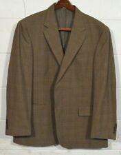 Oscar De La Renta 46R Brown Houndstooth Plaid Wool Sport Coat Blazer