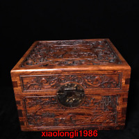 """11.2""""old China antique Rosewood Hollowing out Carve Landscape pattern square box"""