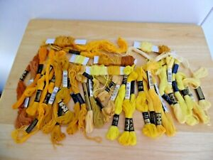 Large Lot of Multi-Yellow Skeins of Embroidery Floss DMC~J&P Clark ~ Am. Thread