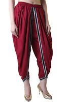 Maroon Rayon Dhoti, Pleated Wide Leg Patiala Pants with Abstract Border Women