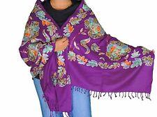 """Luxury Purple Kashmir Embroidery Wool Dress Wrap Evening Shawl Fashion Scarf 80"""""""
