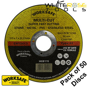 Worksafe by Sealey Multipurpose Cutting Disc Ø115 x 1.6 x Ø22mm Bore Pack of 50