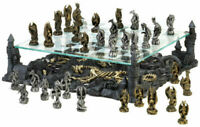 Dragon King Collectors 3-D CHESS SET Medieval Chess Men Gold Silver Board Game
