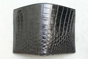 Crocodile Belly Leather skin Men's Bifold wallet Genuine Alligator Black