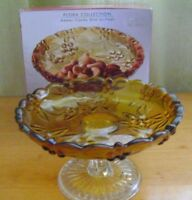Amber Footed Glass Candy Bowl Pedestal Dish Studio Silversmiths Flora Collection