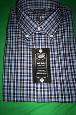 NWT BERKLEY JENSEN NO IRON BUTTONDOWN DRESS SHIRT-BLUE PLAID-15.5 34/35