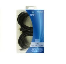 Onn ONA12AV045 2 Pack High Speed HDMI Cable with Ethernet - 6ft