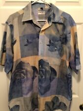 Georg Roth Of Germany Blue short sleeved shirt Mens Floral Size Lg 41/42