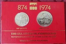 Island 500 und 1000 Kronen 1974 Sterling Silber 1100 J. Island im Folder Stgl.