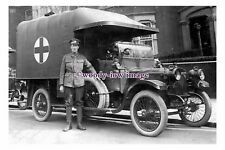 rs1190 - Red Cross Ambulance & Driver from WW1 - photograph 6x4