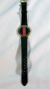 Vintage Gucci 3000m Men's Blue/Red Stripe Wristwatch, 1980s