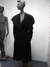 ANTIQUE 1920s 1930s BLACK VELVET MOURNING OPERA COAT w BIG COLLAR