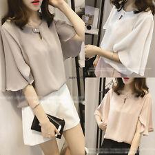 Summer Korean Women Chiffon Flare Sleeve Loose Slim Casual Tops Blouse T Shirt