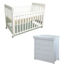 Pioneer Cot & Chest 4 Drawers, Mattress,Change Top Package WHITE CRIB BABY BED