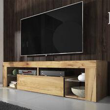 Meuble tv BIANKO 140 cm chêne lancaster blanc noir gris LED optionnel
