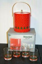 New Vintage Libbey WINTERLAND Ice Bucket & 4 Glasses NOS              (G4)