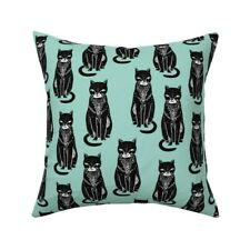 Cat Halloween Mint Cats Stamps Throw Pillow Cover w Optional Insert by Roostery