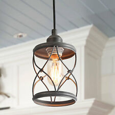 1-Light Industrial Mini Wire Pendant Light, Metal Cage Shade, Silver Brushed