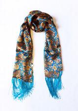 100% Silk Print Women's Silk Wrap Shawl Scarf Neck Scarf Blue Holiday Gift NYC