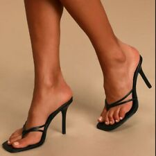 Women Party Square Toe Flip Flop High Heels Sandals Mules Slippers Slip On Shoes