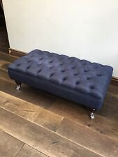 Large Ottoman Chesterfield Footstool In Navy Blue Linen