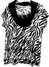 Cato Black And White Zebra Print Cap Sleeve Cowl Neck Blouse Top Women's Size XL