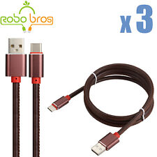 3X 3FT  Brown leather USB-C Type-C Fast Charging Data SYNC Charger Cable Cord
