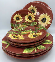 Tabletops Gallery SUMMER BLOOM Dinner & Salad Plate Set Of 4 Red & Sunflowers