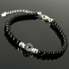 Men Women Bracelet Black Onyx Rutilated Quartz Sterling Silver Nugget Clasp 1226