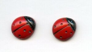 """2 AWESOME MATCHING RED GLASS buttons--LADYBUGS with BLACK SPOTS--5/8"""""""