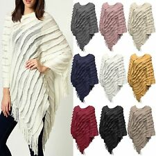 NEW WOMEN'S LADIES LONG RUFFLE TASSEL FRINGE SLANTED CAPE PONCHO JUMPER CARDIGAN