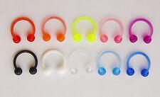 16g Horseshoe Ring Bar Piercing Acrylic PTFE Flexi CBB Nipple Conch Helix Conch