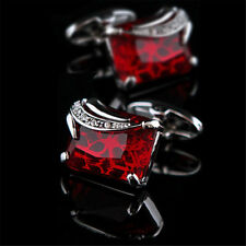 MEN'S SILVER PLATED CUFFLINKS RED CRYSTAL DESIGN MENS WEDDING CUFF LINKS